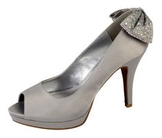 e05f7b66470d Anne Michelle Ladies silver satin high heel peep toe court shoe back bow