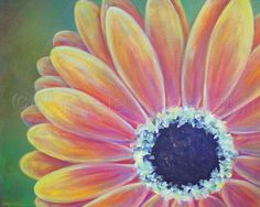 "Painting : ""Gerber Daisy"" (Original art by Angela Anderson) Easy Flower Painting, Daisy Painting, Flower Art, Painting & Drawing, Daisy Drawing, Wine And Canvas, Gerber Daisies, Painting Lessons, Pictures To Paint"