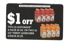 Gatorade 8-pack 20 oz/G2 Thirst Quencher ~ 11/30/2014 ~ (3)  ~ $1.00