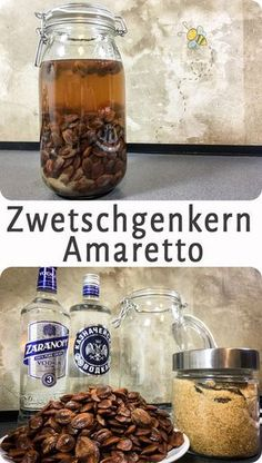 Zwetschkaretto (Zwetschkenkern Amaretto) Plum kernel Amaretto, for those who like to make jam and never know what to do with the whole kernels. Well, do not throw away, you can make delicious Amaretto. Also goes with apricot, cherry and plum. Drinks Alcohol Recipes, Cocktail Recipes, Drink Recipes, Healthy Eating Tips, Healthy Nutrition, Clean Eating, Superfood, Detox Soup Cabbage, Plum Seed