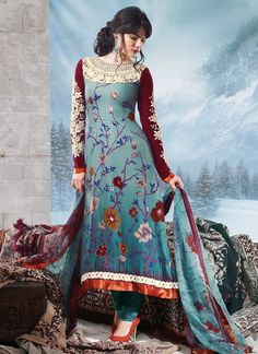 Teal Resham Enhanced Pakistani Suit | only 69 dollars. want!!