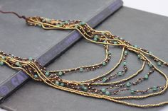 Jade Layered Nine Strand Woven Necklace by XtraVirgin on Etsy