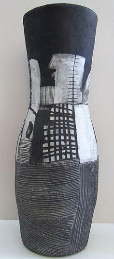 LOUISE GELDERBLOM  Black and White Vessel  Ceramic  Height: 68cm  Diameter: 27cm