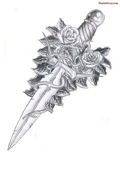 Black And White Knife And Flowers Tattoo Design