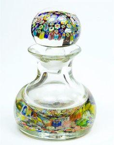 Murano Millefiori Antique Perfume Bottle-Beautiful Venetian Art Glass