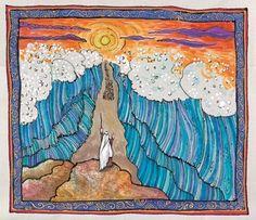 Bible Illlustration, Biblical Art, Judaic art, Jewish Art, silk painting, Torah art, Jewish Art
