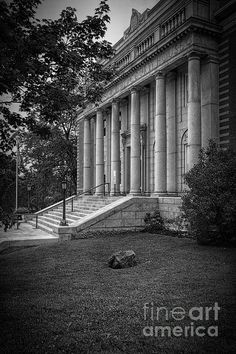Hancock County Courthouse Maine BW - Joan Carroll in Ellsworth Maine. To view or purchase my prints, canvases, cards or phone cases visit joan-carroll.artistwebsites.com THANKS!