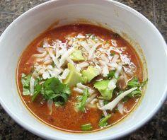Low fat Version of Chicken Enchilada Soup recipe. My Uncommon Slice of suburbia