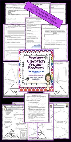 The Ancient Egyptian Poster Project is a fun activity that produces a great-looking product! You'll find six differentiated versions so all students can learn and feel successful. Includes the following: *An 8.5x11 grade-level poster *An 8.5x17 grade-level poster *Two-8.5x11 modified posters *Two- 8.5x17 modified posters *A picture of both versions with directions on each segment *Student note pages for both versions *Links to kid-friendly websites