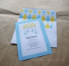 Invitation And Envelope Liner. Birdie Mobile Printable Baby Shower Kit:  Also Available In Pink