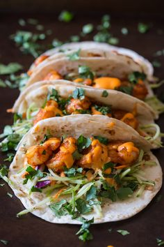 Posted By nutmegnanny on March 16, 2015 These chipotle shrimp tacos are the perfect balance of sweet and spicy. Flour tortillas topped with tangy broccoli slaw, shrimp and gochujang ...