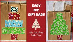 cute and easy gift bags with duct tape Diy Holiday Gifts, Christmas Gift Bags, Easy Diy Gifts, Holiday Crafts, Christmas Ideas, Duck Tape Crafts, Duct Tape, Parrot, Ornament
