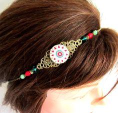 Headband bohème ethnique chic, bronze, vert, rouge, bijou de tête, collier, cabochon en tissu, howlite, verre, cristal : Accessoires coiffure par color-life-bijoux