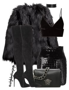 """Untitled #2589"" by stylebyteajaye ❤ liked on Polyvore featuring H&M, T By Alexander Wang, Yves Saint Laurent, Versace and Le Silla"