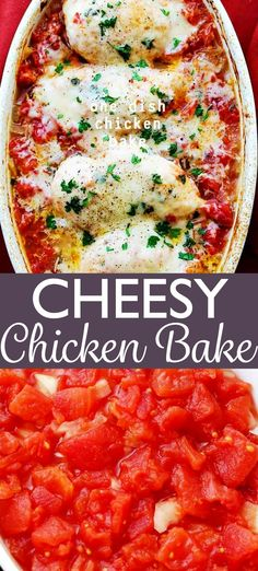 One Dish Chicken Bake - Flavorful chicken baked on a bed of tomatoes and covered in cheese makes for a one-dish dinner the whole family will enjoy. *Made with 2 cans of Costco Diced Tomatoes Recipes With Diced Tomatoes, Canned Tomato Recipes, Chicken And Diced Tomato Recipe, Chicken Tomato Casserole, Canned Chicken, Keto Chicken, Chicken Enchiladas, Tomato Sauce, Baked Chicken Breast