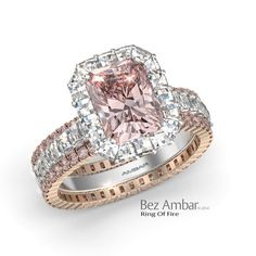 Bez Ambar's Ring of Fire with a fancy pink radiant center and Blaze® diamonds…
