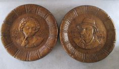 Wooden Plates Carved Vintage Alpine Swiss Flirting by HobbitHouse #integritytt
