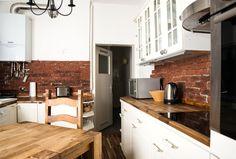 Küche mit Backsteinwänden WG in Augsburg Innenstadt
