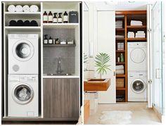 espace restraint pour salle de lavage Idée buanderie avec machines superposées