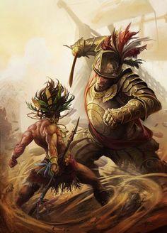 Personal Illustrations on Behance Fantasy Warrior, Fantasy Art, Aztecas Art, Aztec Culture, Aztec Warrior, Inka, Mexico Art, Mesoamerican, Chicano Art