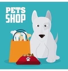 Pet shop and dog design vector