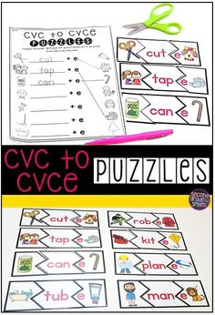 Are your first grade students struggling to read, spell, and differentiate between short vowel CVC and long vowel CVCe words? Try out these CVC to CVCe puzzles! Students match each short vowel CVC word with a picture illustrating its meaning on one side. On the other side, they add a silent e to the end of the word and match with a picture illustrating the new long vowel word they create. Makes a super fun word work center!