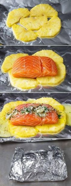 Lemon Garlic Butter Salmon in Foil with Pineapple