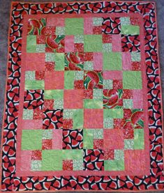 "Quilt, Lap Quilt ,Patchwork Quilt,Picnic Quilt, Watermelons, Pink 46"" x 58"", Fast Shipping"