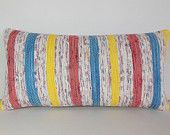 HAND WOVEN cream pillow sham stripe floor pillow yellow cushion cover organic pillow cover gold pillow case blue striped kilim pillow 11471