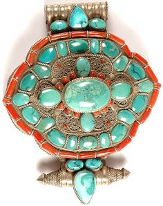 Super Large Tibetan Gau Box Pendant with Coral Turquoise and Filigree (A Combination of Form and Function)