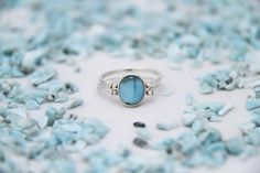 Larimar Amber Ring, Double Sided Ring, Woman Reversible Ring, See Available Sizes, Larimar Ring, Amber Jewelry by TheLarimarShop
