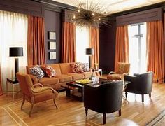 Orange rooms - amazing on so Many levels, want light fixture and curtains!
