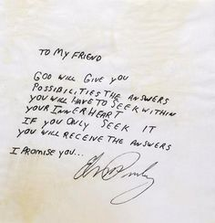 This amazing personal note expresses Elvis' feelings in his beliefs and faith while providing encouraging words to his friend (based on content, the note was likely written in the 1970's)