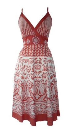 Heart & Floral Summer Sun Dress Coral