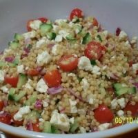 roasted garlic couscous with feta- very similar to what I make but I use Harvest Grains Blends from Trader Joe's and add some other veggies. Definitely worth a try.