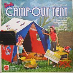 Barbie Camp Out Tent 13 Piece Playset - Barbie Playsets, Mattel Barbie, Barbie And Ken, Childhood Toys, Childhood Memories, Vintage Barbie, Vintage Dolls, Barbie Camper, Christmas Barbie