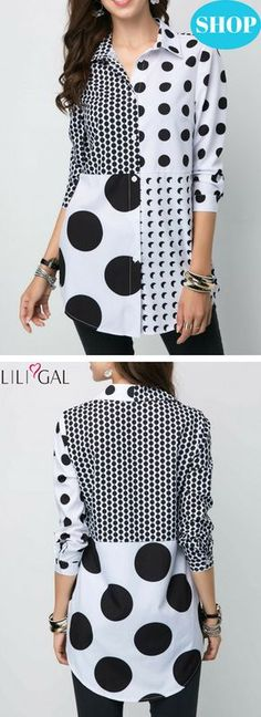 USD33.00   Polka Dot Turndown Collar Button Front Shirt   #liligal #blouse #tshirt
