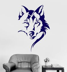 Vinyl Wall Decal Wolf Head Animal Tribal Art Room Decor Stickers Unique Gift 11 in X in / Gold Metallic Tribal Art, Wolf Silhouette, Pintura Tribal, Wolf Outline, Wolf Tattoo Design, Tribal Wolf Tattoo, Dog Rooms, Mural Art, Christian Wallpaper