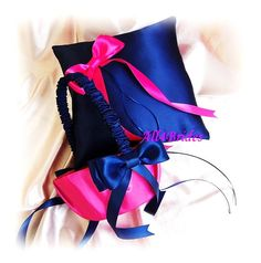 Ring bearer pillow and flower girl basket navy blue and