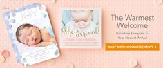 Tiny Prints - Birth Announcements - precious!! Tiny Prints, Shutterfly, Treat and Wedding Paper Divas all have lovely personalized stationery.