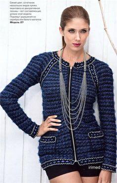 Модели вязания: Женский вязаный жакет с застежкой на молнии