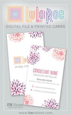 LOVE these lularoe business cards with watercolor flowers. Many other designs to choose from too at itwvisions.com. thank you cards, care cards...all marketing things for lularoe popup boutiques. lularoe business card, lularoe thank you card, lularoe my size card, lularoe care card