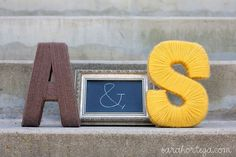 More yarn wrapped letters - so cute for weddings, baby showers, or master bedroom or wall collage!