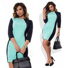 Women's Two-Tone Three-Quarter Figure-Flattering Sheath Dress L-6XL 2 Colors