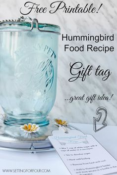 Free Printable! Hummingbird Food Recipe Gift Tag - add to a hummingbird feeder for a great gift idea! | www.settingforfour.com Recipe Gift, Recipe Cards, Humming Bird Feeders, Food Gifts, Craft Gifts, Diy Gifts, Mason Jar Crafts, Bottle Crafts, Teacher Gifts