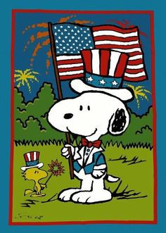 Independence Day July 4th Snoopy is friend Woodstock