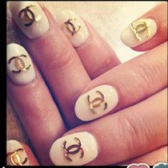 Chanel Nail art stickers #gold #white