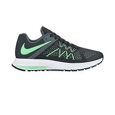 Nike Women Air Zoom Winflo 3 Running Shoe - Black  Green Glow Engineered  mesh forefoot creates a breathable 1b657a4ac
