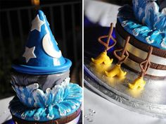 Super cool site, with so many Disney Cakes! Disney Fantasia Brooms and Sorcerers Hat Cake