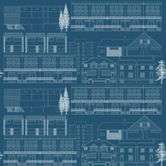 Do You Live in a Town Blueprint (AZDPT001 Blueprint) - Mini Moderns Wallpapers - A fun and retro wallpaper featuring an all over, stylised design of various houses. Shown here in navy blue and white. Other colourways are available. Please request a sample for a true colour match.
